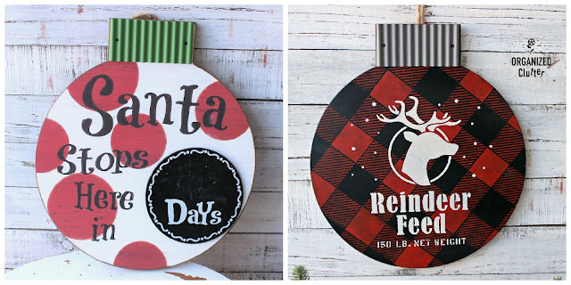 Christmas Countdown Sign Buffalo Check Upcycle