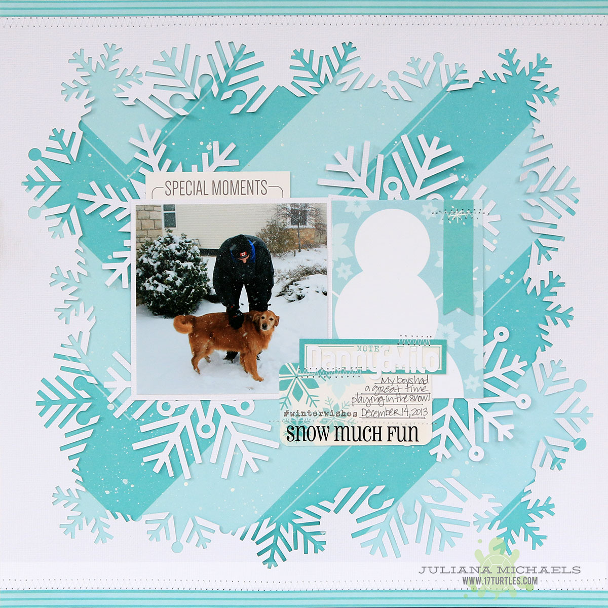 Winter Scrapbook Page by Juliana Michaels featuring 17turtles Digital Cut File Snowflake Background