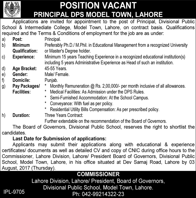 Jobs In Public School Model Town Lahore July 2017