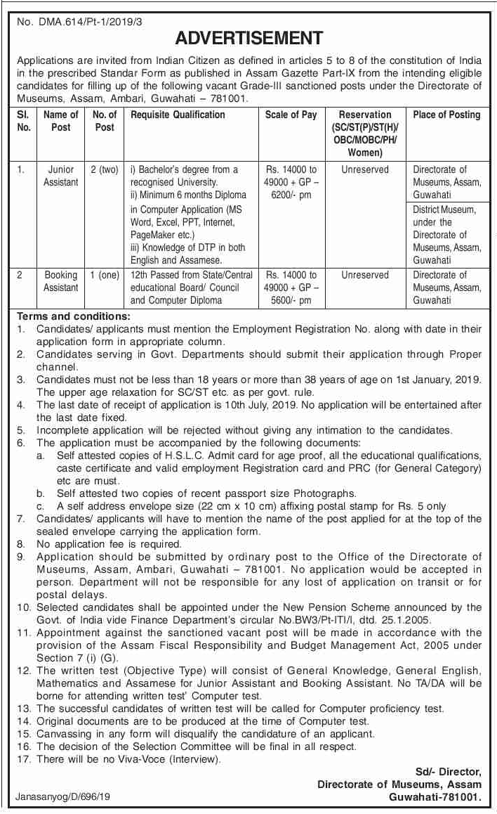 Directorate of Museums Recruitment 2019 - Apply 3 Posts on