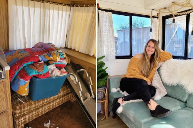 Фургон уже покрылся весь плесенью, но маме удалось превратить его в уютный дом на колёсах: 16 фото
