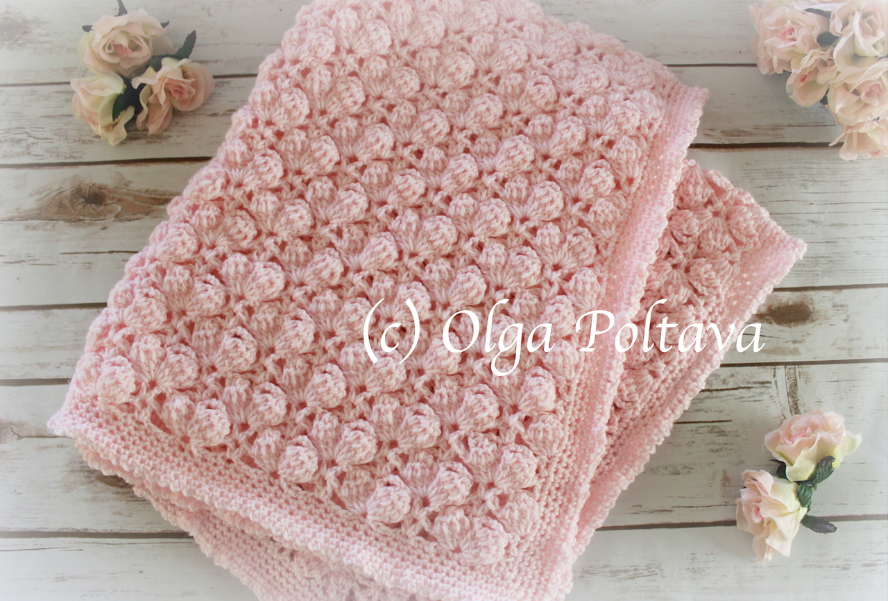 Lacy Crochet: Pink Marshmallows Baby Blanket, Crochet Afghan Pattern