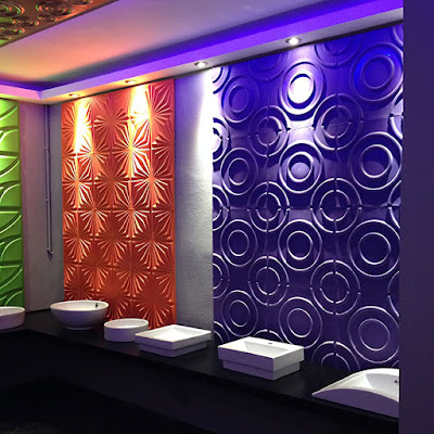 LED lighting installation with 3d colored wall panels