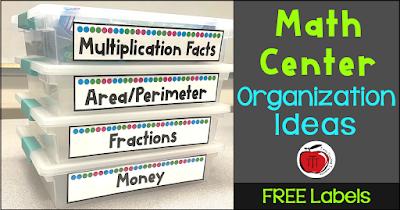 Math center storage ideas