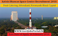 Satish Dhawan Space Centre Recruitment 2018– 33 Catering Attendant, Fireman, Cook & Hindi Typist