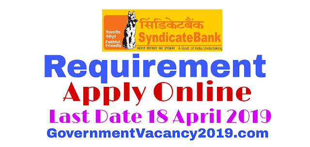 Syndicate Bank Recruitment 2019 Online Applications for 129 SO Jobs