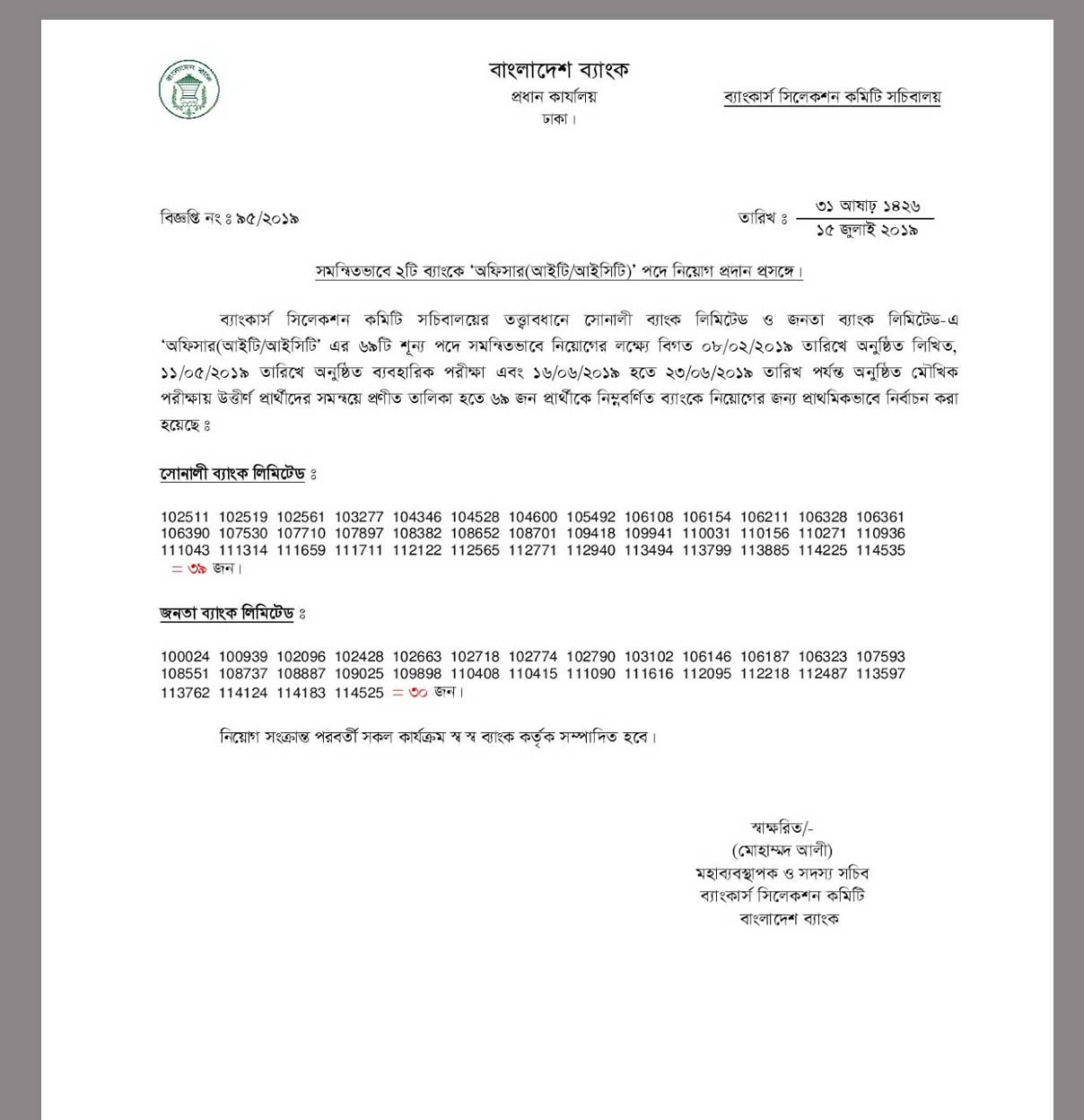 Combined 2 Bank Job Exam Result