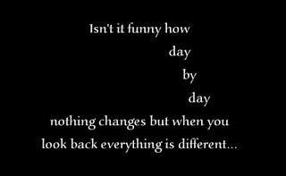 Isn't it funny how day by day nothing changes but when you look back everything is different...