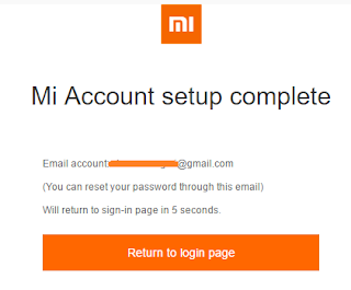 Screenshot showing Mi-Fit Account created