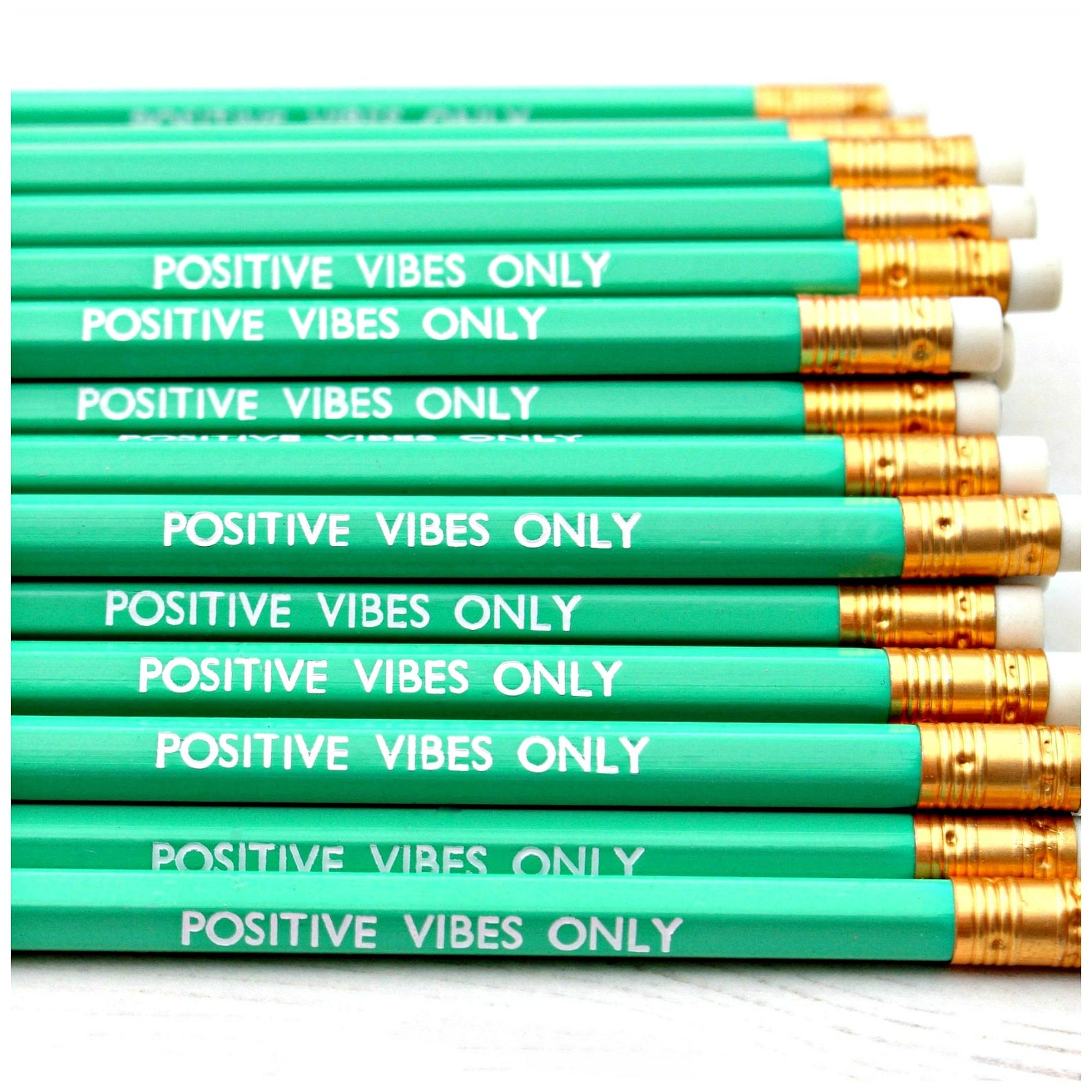 positive vibes only pencils, motivational stationery, cute pencils, pencils with quotes