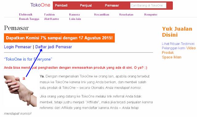 Proses Registrasi untuk Pemasar TokoOne.com