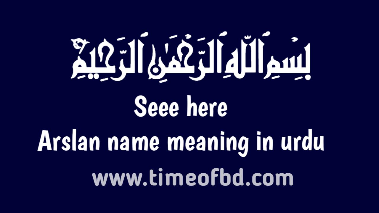 Arslan name meaning in urdu, ارسلان نام کا مطلب اردو میں ہے