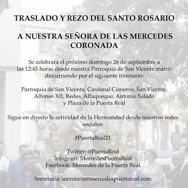 Horario e Itinerario rezo del Santo Rosario a Ntra. Sra. de las Mercedes de Puerta Real. Sevilla 26 de Septiembre del 2021
