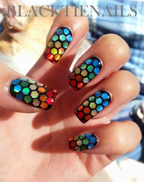 black tie nails rainbow glitter