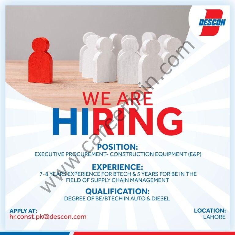 hr.const.pk@descon.com - Descon Engineering Limited Jobs 2021 in Pakistan