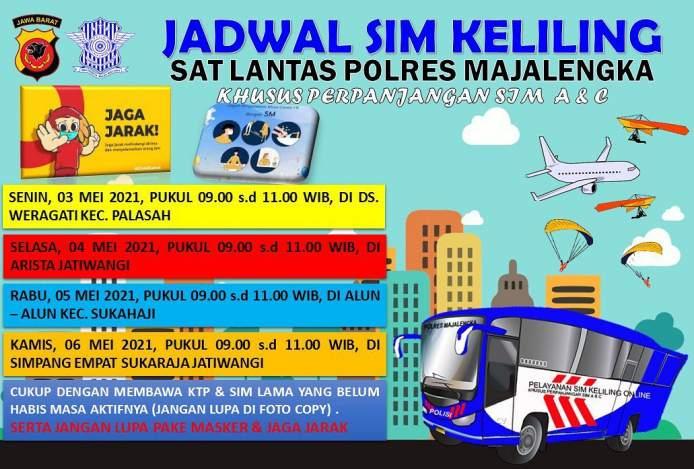 Jadwal SIM Keliling Majalengka Mei 2021