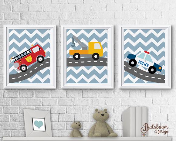 Meios de transporte, poster, posteres, posters, arte digital, arte personalizada, decoração, quarto infantil, carros, bombeiro, policia, reboque