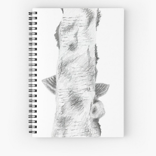 birch tree trunk spiral notebook