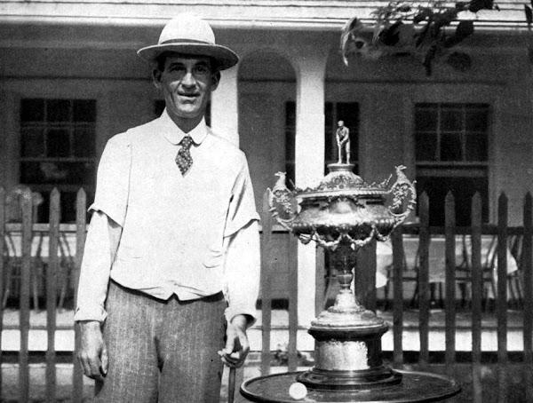 Walter Travis with the original Havemeyer Trophy