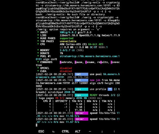 cara Mining Monero di Smartphone Android xmrig
