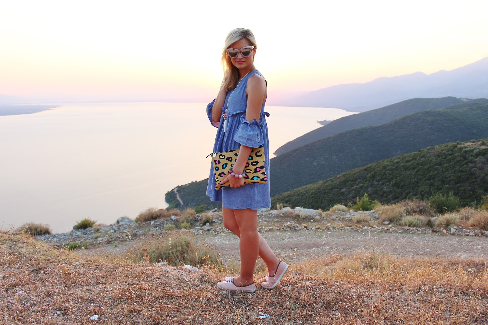 bijuleni- Boohoo off the shoulder dress with sneakers. Sunset in Greece.