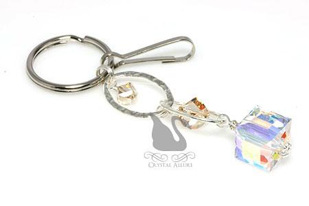 Crystalline Aurora Borealis Elegant Beaded Keychain Purse Charm (K106)