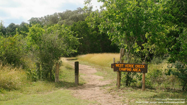 entrance to a camping area at Hill Country State Natural Area