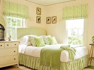 dormitorio en crema y verde