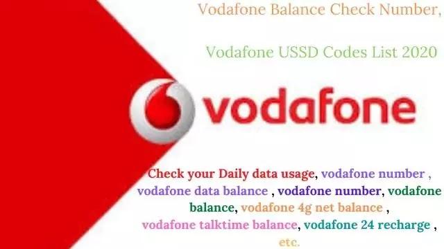 Vodafone Balance Check Number, Vodafone USSD Codes List 2020