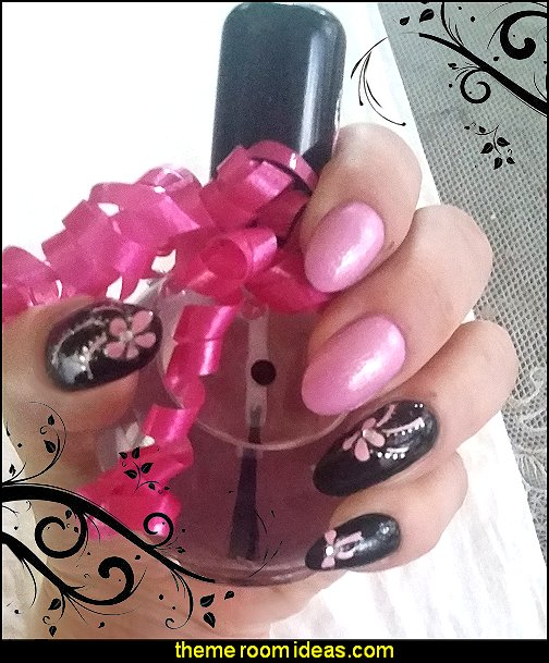 pink nail stickers-pink nail decorations pink black nail design ideas maries manor themed decorating ideas