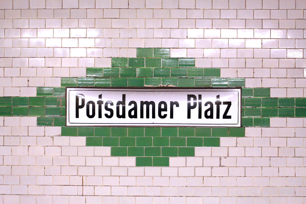 Potsdamer Platz metro tiled station sign - travel & lifestyle blog