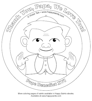 Happy Saints: Pope Benedict XVI Coloring Page