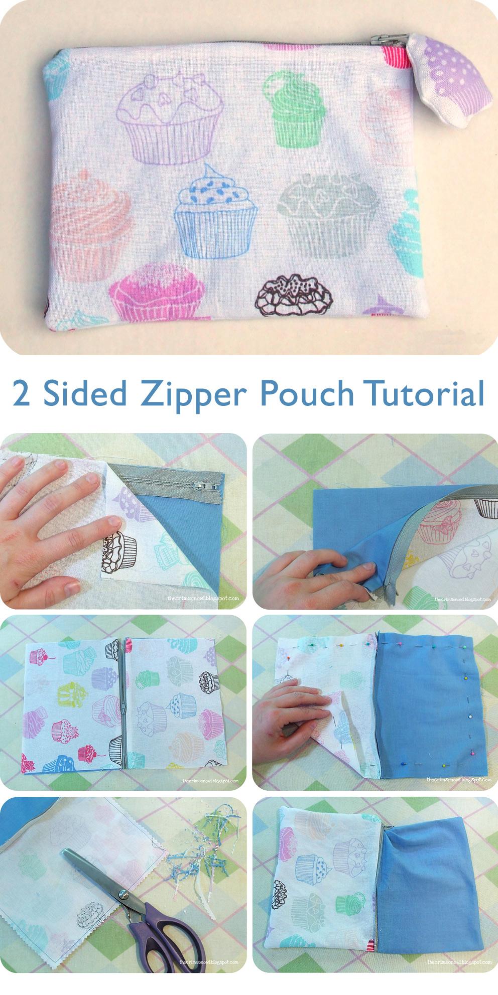 2 Sided Zipper Pouch Tutorial