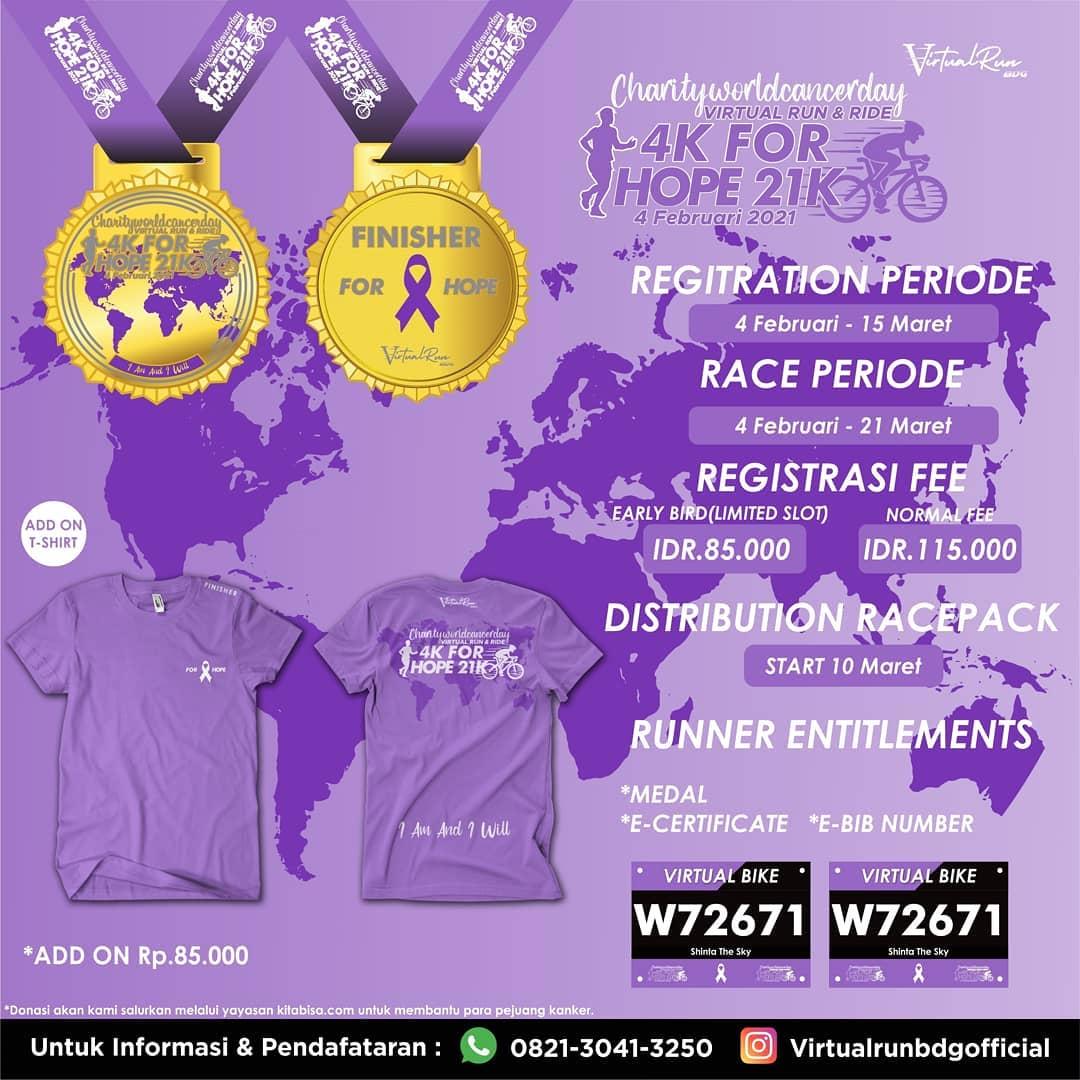 Charity World Cancer Day - Virtual Run & Bike for HOPE • 2021