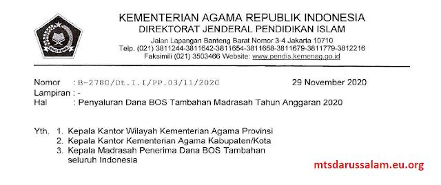 SE Penyaluran Dana BOS Tambahan Madrasah Tahun Anggaran 2020