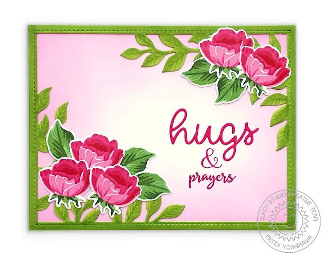 Sunny Studio Blog: Hugs & Prayers Pink & Green Rosebud Card (using Potted Rose Stamps & Botanical Backdrop Dies)