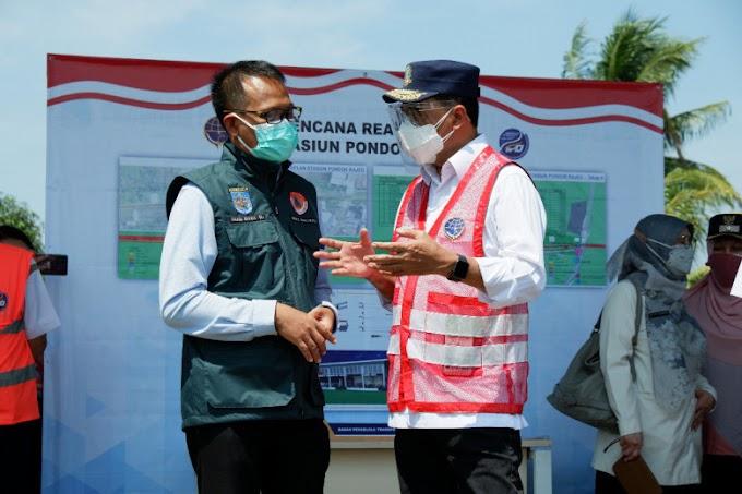 Wakil Walikota Dampingi Menhub Tinjau Stasiun Pondok Rajeg