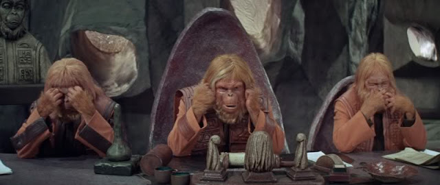 See no evil, hear no evil, speak no evil from Planet Of The Apes (1968)