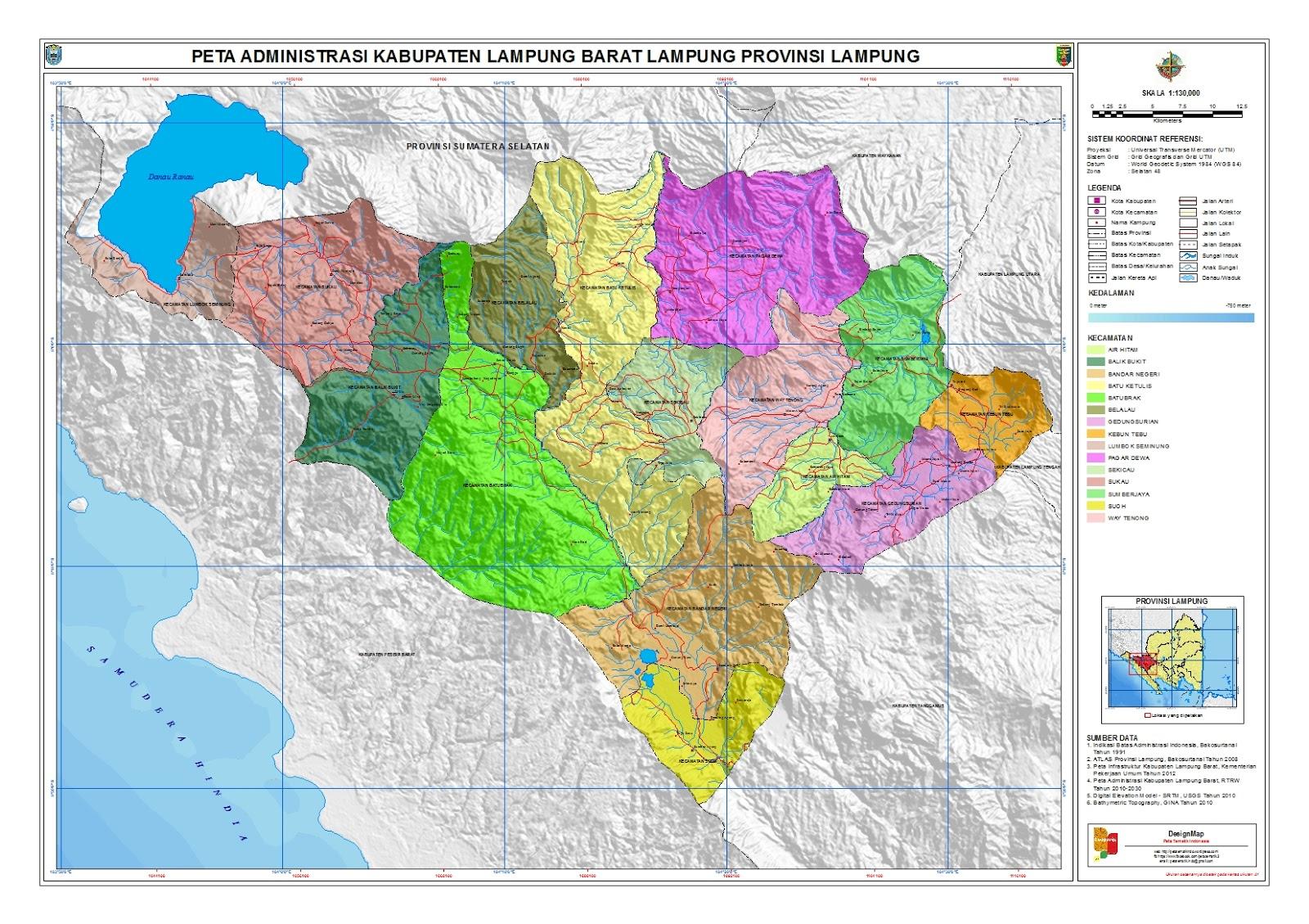 Luas Wilayah 15 Kecamatan di Lampung Barat
