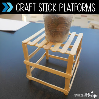 STEM Challenges for elementary school students! This challenge is so versatile. With older students try building the craft stick platform using hot glue. With younger students use masking tape. The platform has a height requirement and must hold weight. Bring STEM into your upper elementary class with this simple two material challenge. The resource includes detailed instructions with several versions described. Photos, lab sheets, answer samples, and editable forms are provided!
