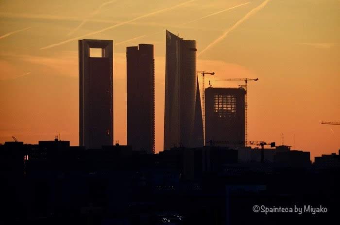 Las cuatro Torres マドリード高層ビルを拡大した様子