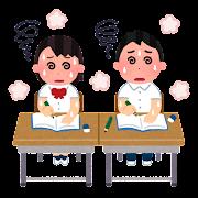 冷房のない暑い教室のイラスト(制服)