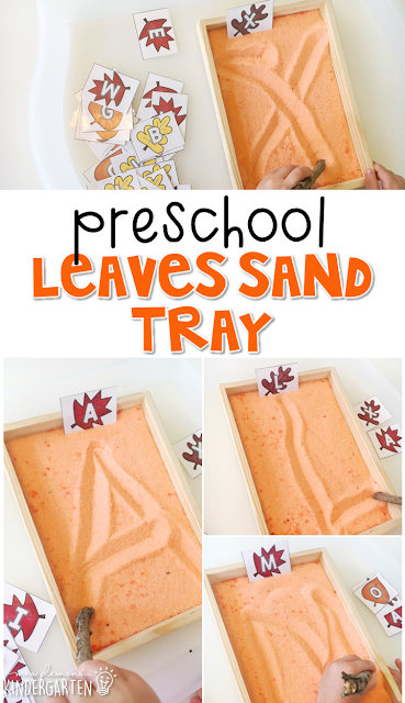 This fall leaves sand tray is fun for letter writing and fine motor practice with a fall theme. Great for tot school, preschool, or even kindergarten!