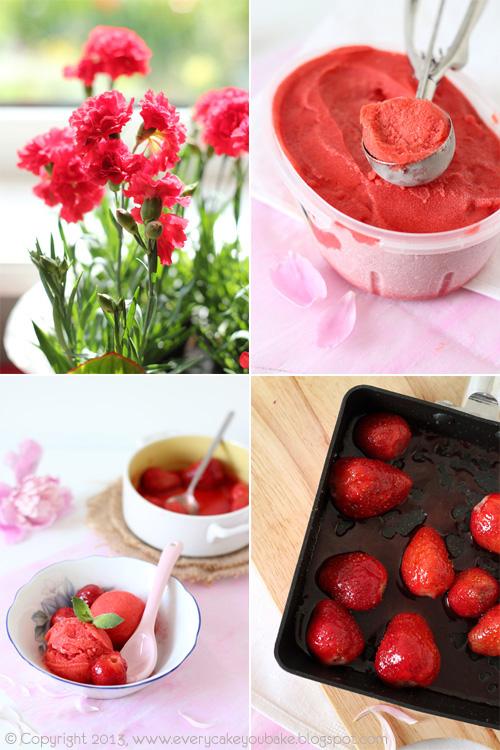 pyszny sorbet truskawkowy z pieczonymi truskawkami