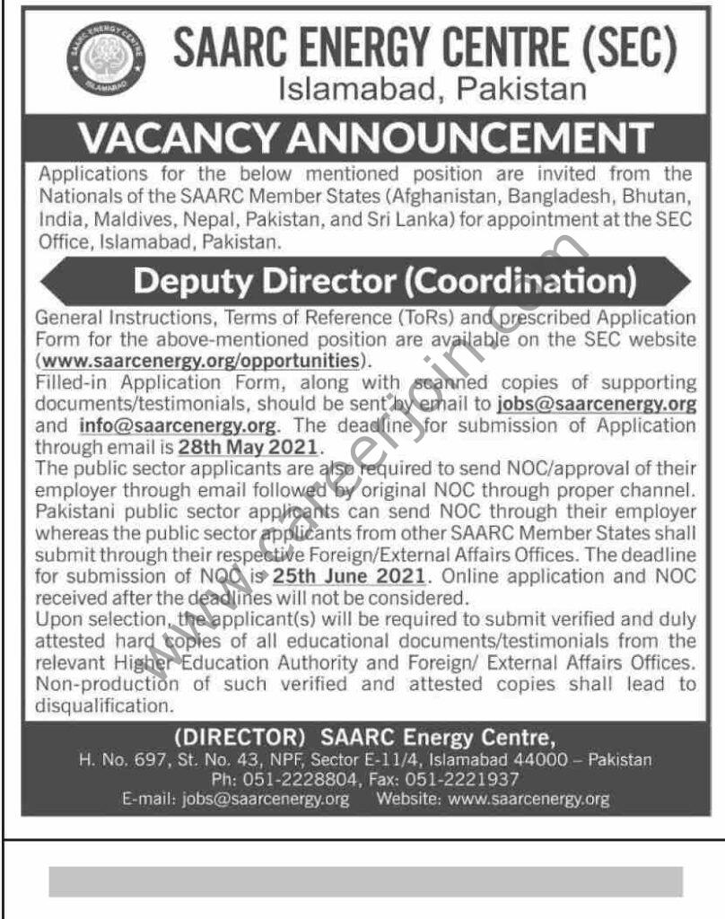 SAARC Energy Centre SEC Jobs 2021 in Pakistan For Deputy Director (Coordination) Post