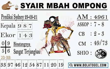 Syair Mbah Ompong SDY Rabu 29-09-2021