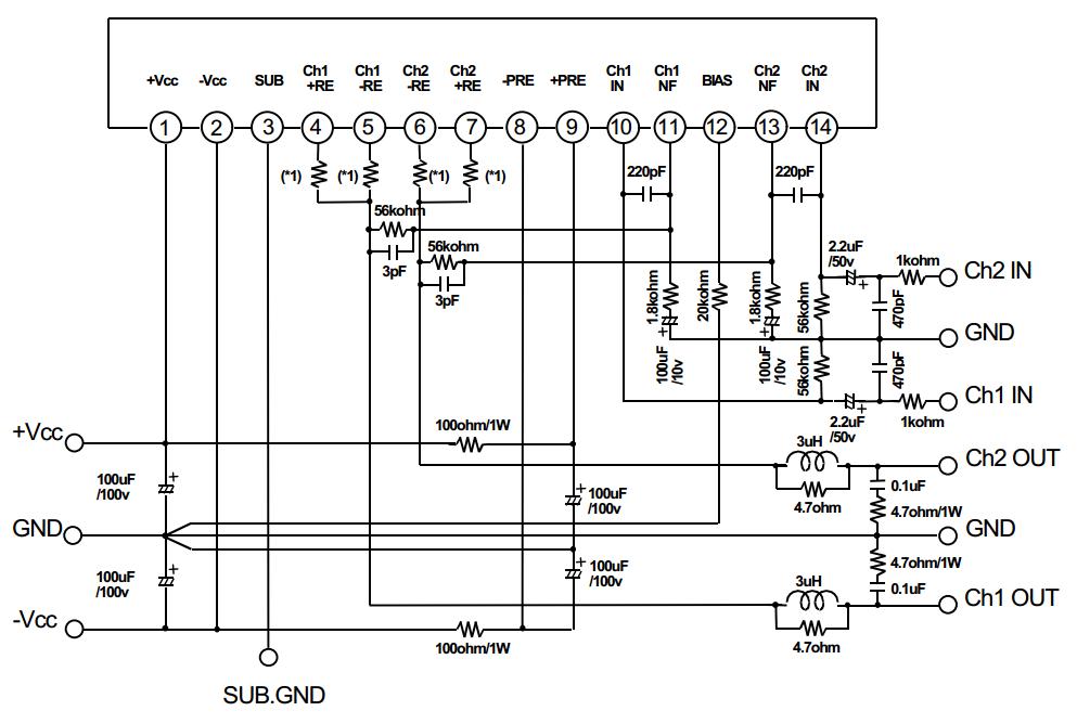 45w Audio Amplifier Circuit Using Stk055