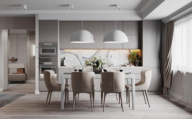 Thiết kế và thi công hoàn thiện nội thất căn hộ chung cư Velona Quận 2 - Phòng bếp và bàn ăn