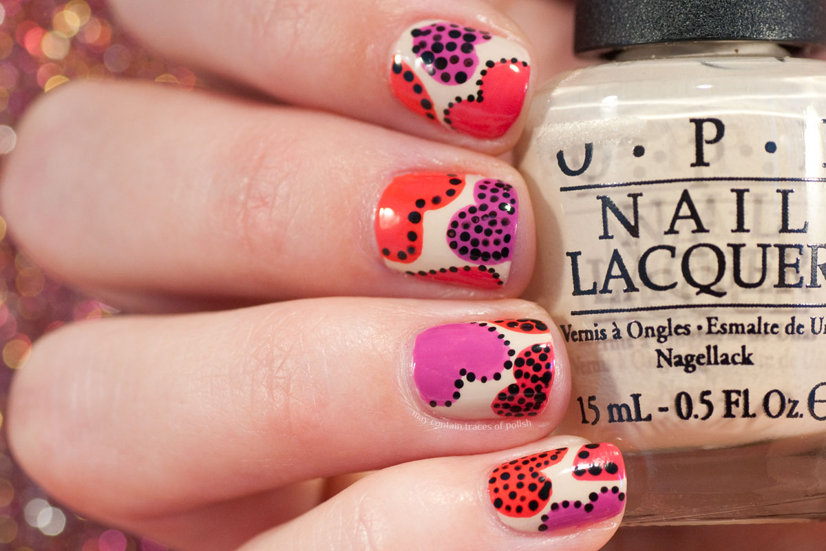Dotted Playful Hearts Nail Art with OPI polishes