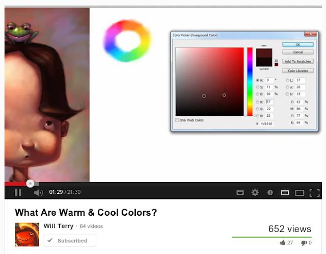 Vídeo do Will Terry sobre como usar na pratica o esquema das cores quentes e frias.